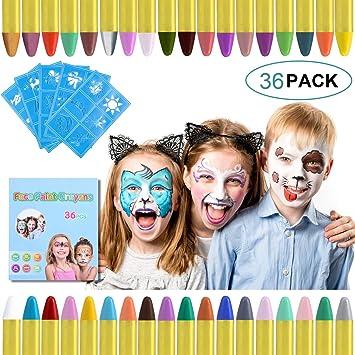 Visage Peinture Crayons Pour Enfants 36 SAFE Safe /& Non-toxique Face /& Body Couleur Crayons