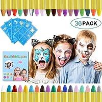 URAQT schmink voor kinderen, 36 kleuren schminkkrijtjes met 30 stuks schildersjablonen, veilige niet-giftige…