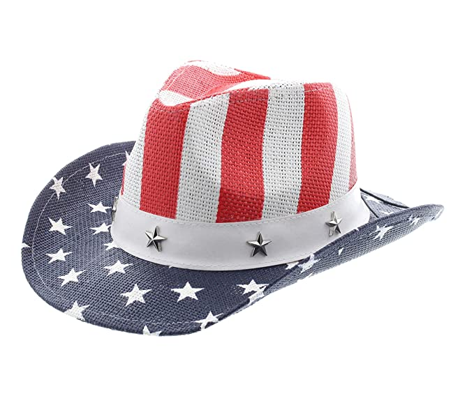 65dd234475141 Amazon.com  Milani Kids Vintage Style Stars and Stripes American Flag  Patriotic Cowboy Hat (White 088)  Clothing