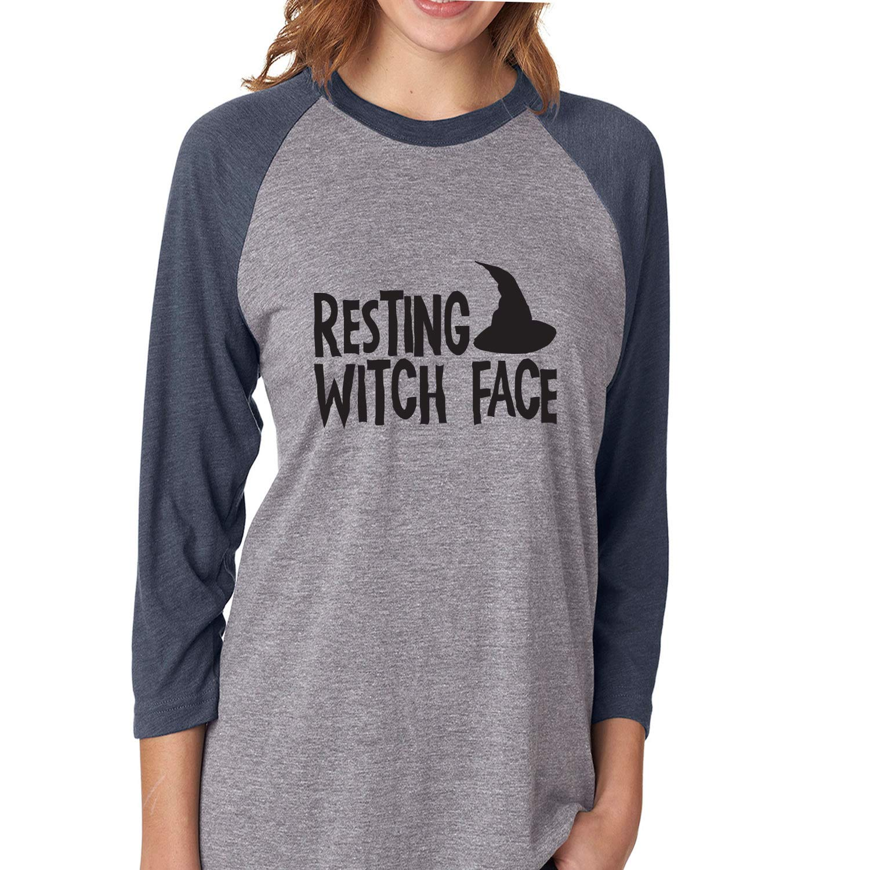Unisex 3//4 Sleeve Baseball Raglan Tee ZeroGravitee Resting Witch FACE with hat