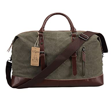 bccf5c10fc Ulgoo Travel Duffel Bag Canvas Bag PU Leather Weekend Bag Overnight (Amy  Green)