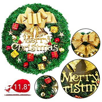 large christmas wreath for front door wall windows artificial poinsettia xmas decorationgold bowknot 118 - Christmas Decorations For Front Windows