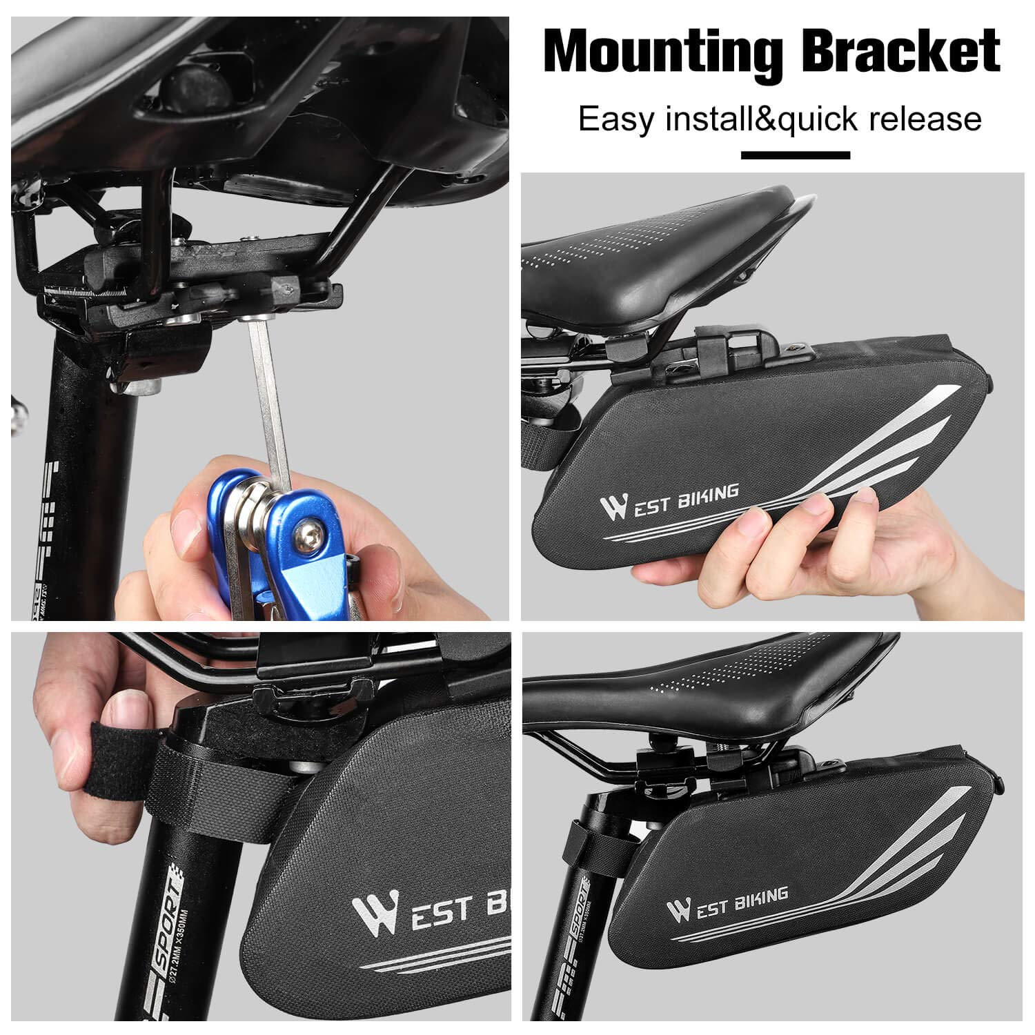 Large Capacity Mountain Road Bike Tail Bag for Mini Pumps Repair Tools Bicycle Accessories WESTGIRL Bike Saddle Bag Water Resistant Bicycle Under Seat Storage Pack with Reflective Stripes