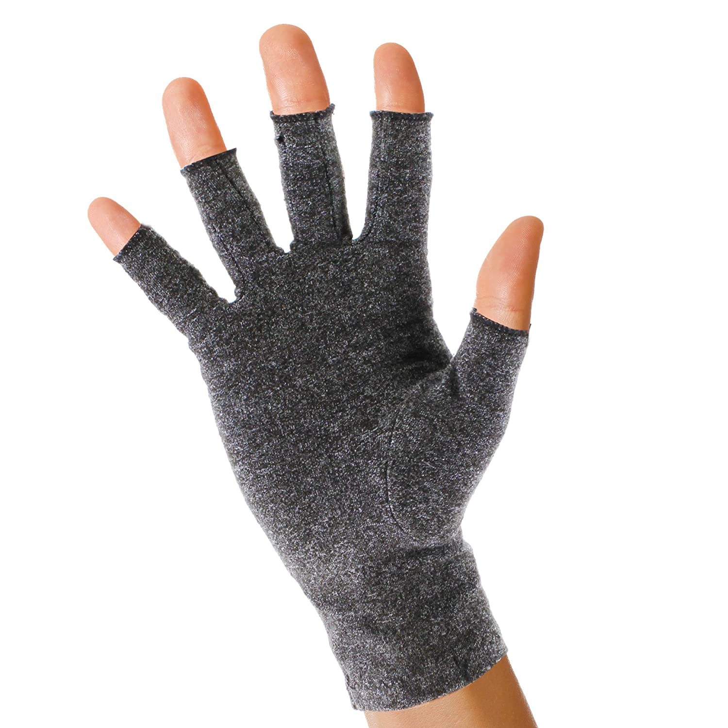 Pivit Arthritis Gloves   Compression Glove for Rheumatoid, Osteoarthritis   Heat Hand Gloves for Computer Typing, Arthritic Joint Pain Relief, Carpal Tunnel   Men, Women   Open Finger Thumb (Large)