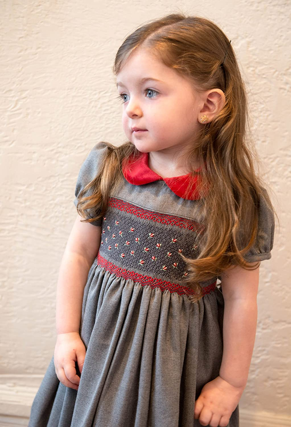 Kids 1950s Clothing & Costumes: Girls, Boys, Toddlers Carriage Boutique Girls Hand Smocked Holiday Party Dress - Dark Gray with Red Flowers $60.00 AT vintagedancer.com