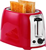 Holstein Housewares HH-09175001R 2 Slice Toaster with 7 Browning Levels, Red