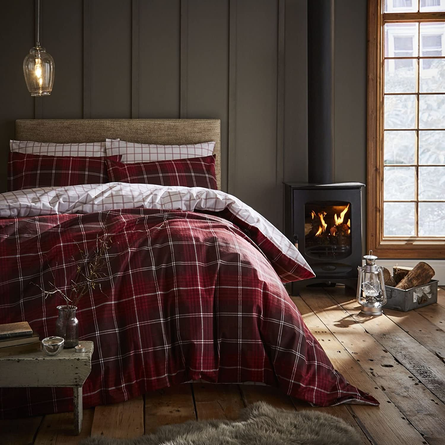 Catherine Lansfield Brushed Cotton Tartan Check Double Duvet Set Red Turner Bianca BD/45137/W/DQS/RE