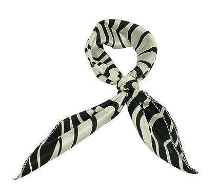 Foulard carre echarpe foulard en soie femmess Stewardess nuque tete mainbag  multi-usages noir blanc 9d91048d36a