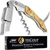 HiCoup Kitchenware Corkscrew Wine Opener - Bottle Openers w/ Foil Cutter for Waiters & Bartenders - Bai Ying Wood