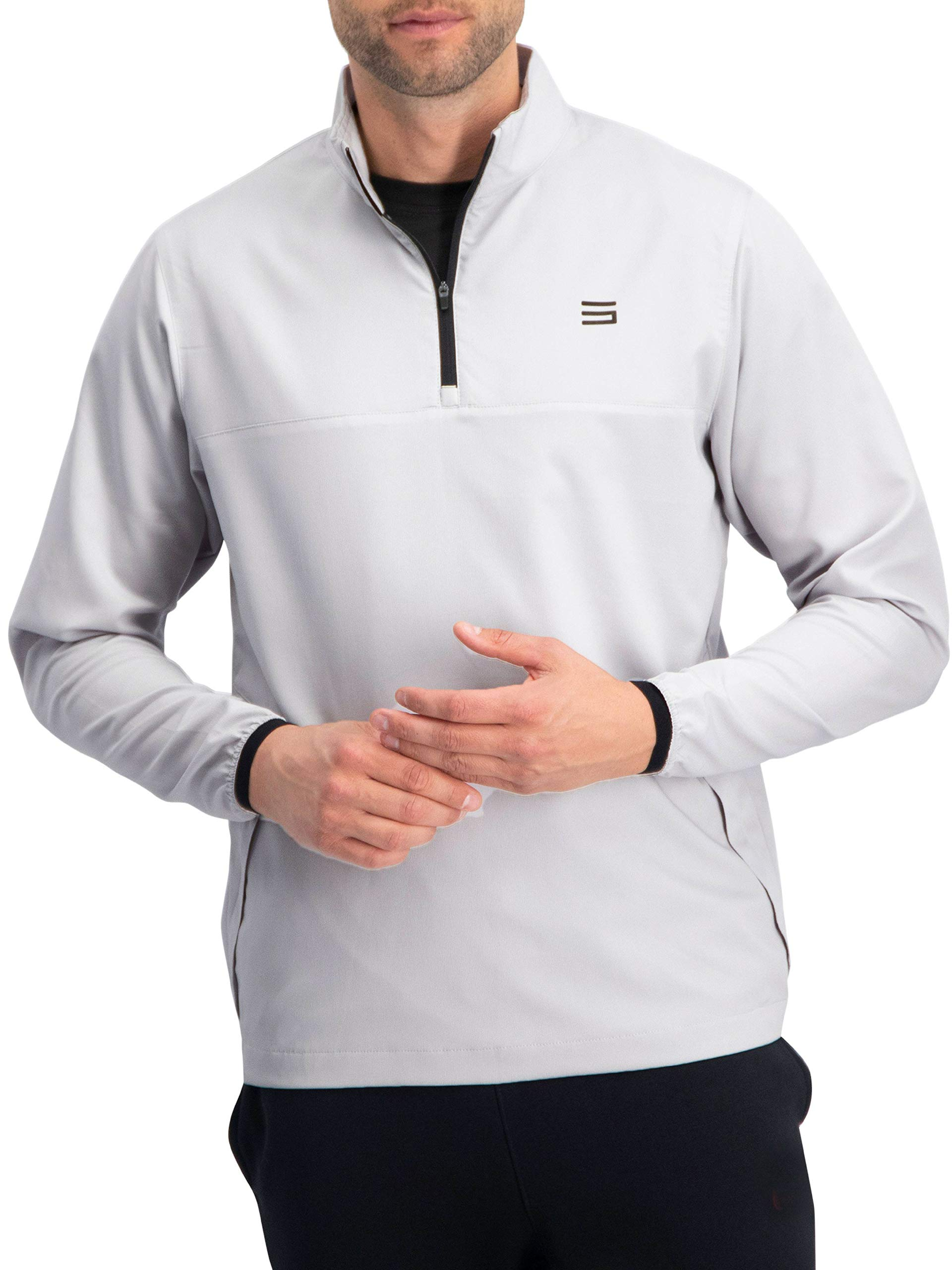 Mens Windbreaker Jackets - Half Zip Golf Pullover Wind Jacket - Vented, Dry Fit by Three Sixty Six