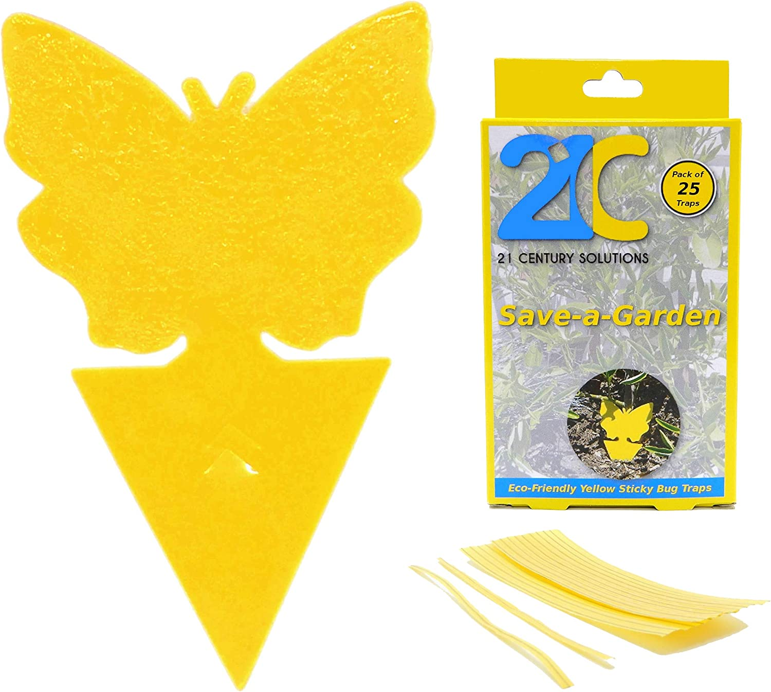 21C Yellow Dual Sticky Fly Traps (25 Pack) for Gnat Whitefly Fungus Gnat Leafminer Aphid Small Insects - Houseplant Bug Catcher - Eco Friendly Save a Garden Butterfly Shape