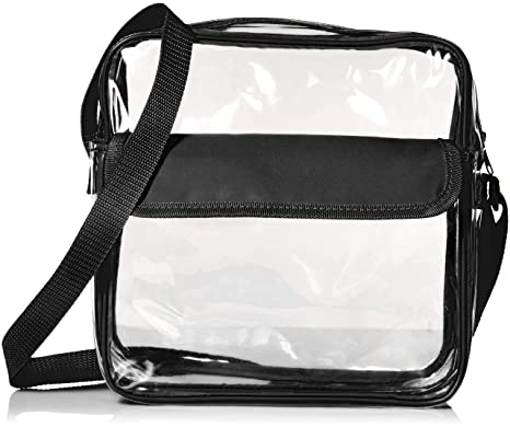20e8fecf7750 Stadium Approved Clear Messenger Bag/Large 10 Inches Cross Shoulder/Event  Security Compliant/Transparent (Black)
