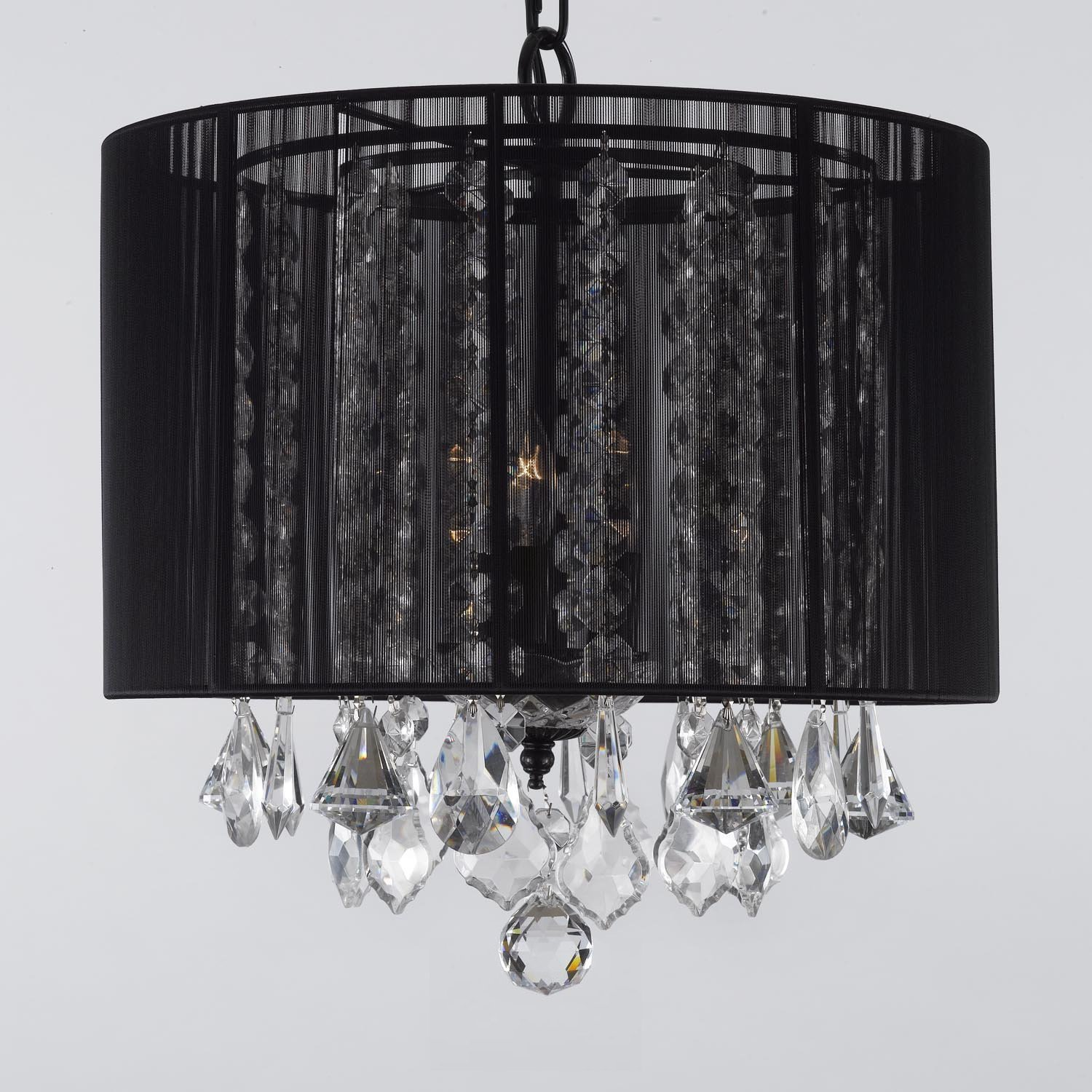 Crystal chandelier chandeliers with large black shade h15 x w15 crystal chandelier chandeliers with large black shade h15 x w15 home and garden products amazon arubaitofo Images