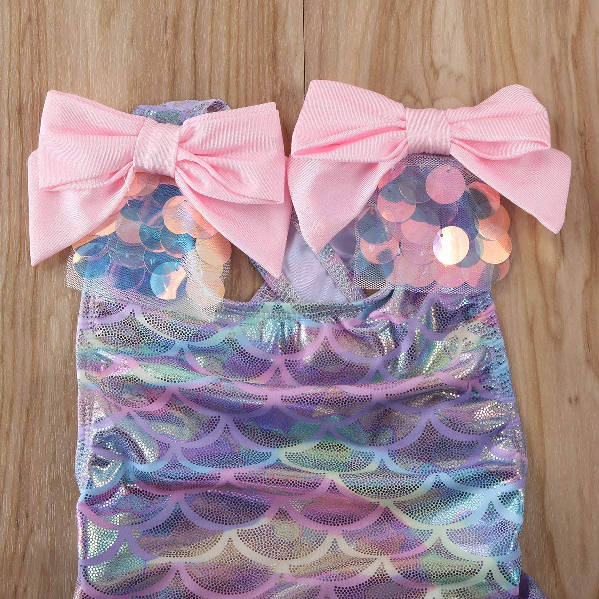 Infant Toddler Baby Girls Colorful Fish Scale Mermaid Ruffles Sleeve One-Piece Swimwear Swimsuit Bathing Suit for 0-4T
