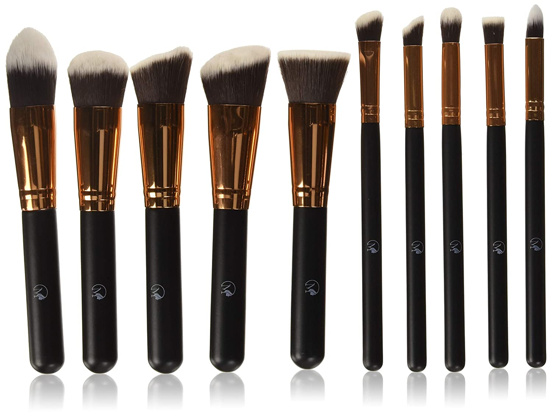 Magnifeko Professional Makeup Brushes Set With case (10-Piece Kit) Face, Eyeshadow, Blending, Contouring, Foundation | Synthetic Bristles | Round, Tapered, Kabuki and Angled
