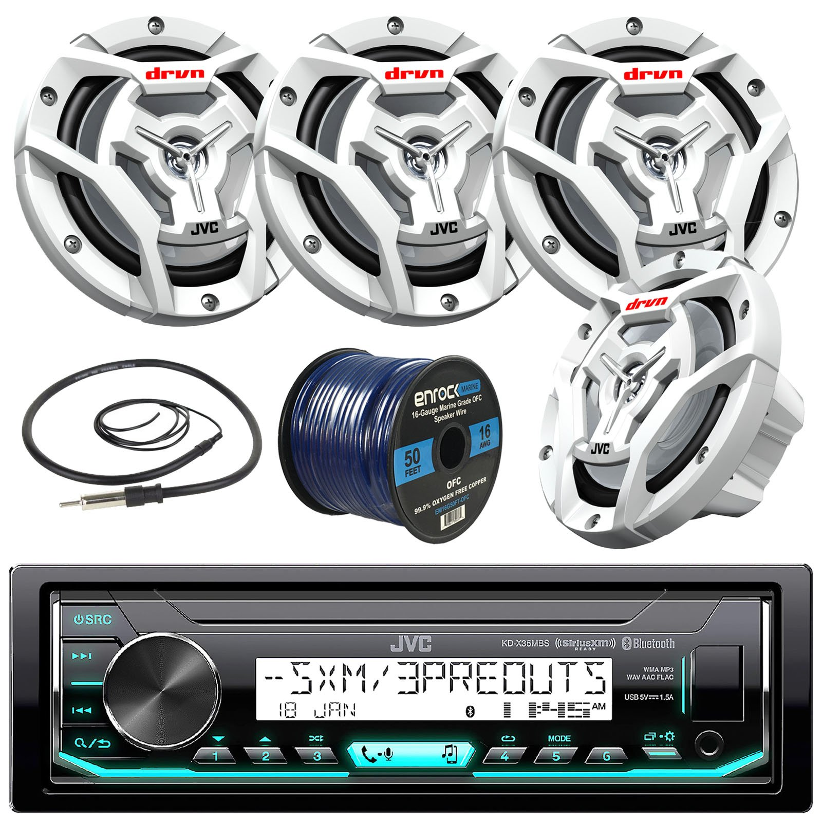 JVC Marine Boat Yacht Radio Stereo Player Receiver Bundle Combo with 4x JVC CS-DR6201MW 300-Watt 6.5'' 2-Way Coaxial Speakers, Enrock Radio Antenna, 50 ft 16g Speaker Wire (White) by JVCMarineBundle