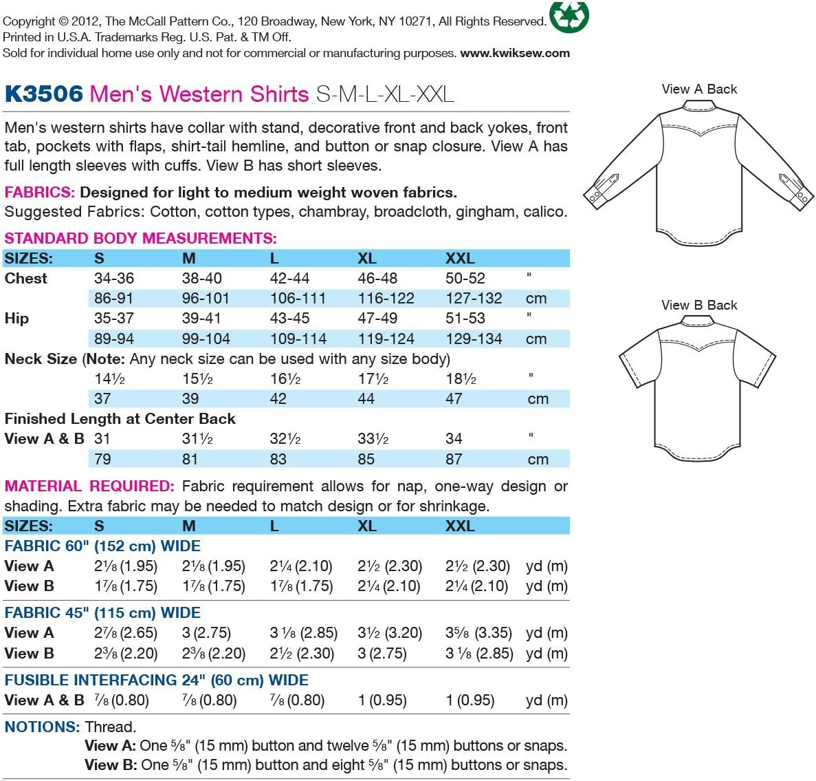 Size S-M-L-XL-XXL Kwik Sew K3506 Shirts Sewing Pattern