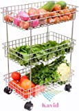 KAVID Stainless Steel 3 Layer Onion Potato Stand for Kitchen Fruit Vegetable Stand Storage Trolley (20 x13 x 8 inch)
