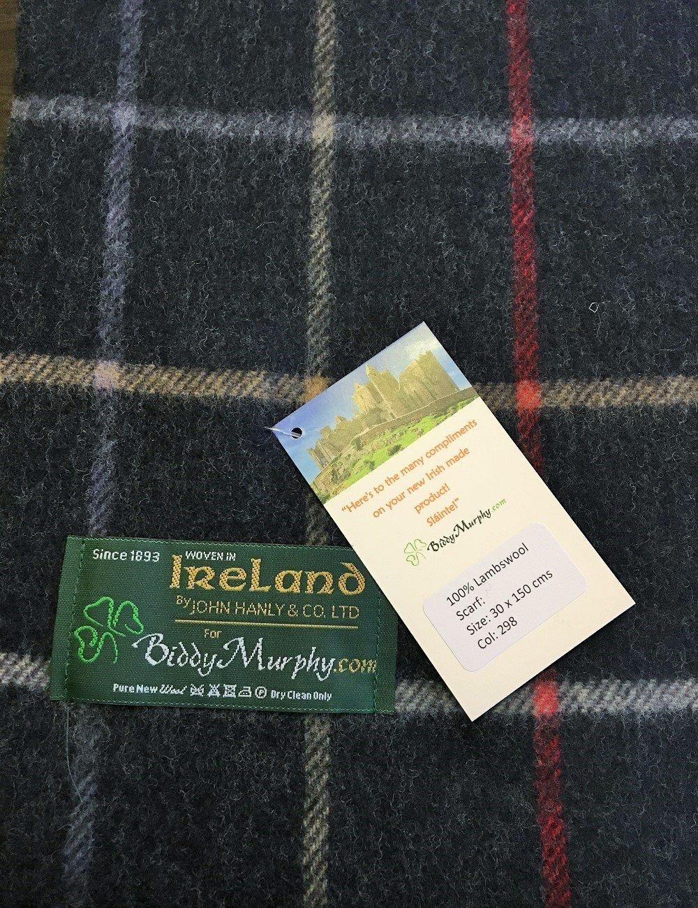 "Irish Wool Scarf Lambswool Navy Plaid 63"" x 12"" Made in Ireland by John Hanly (Image #6)"