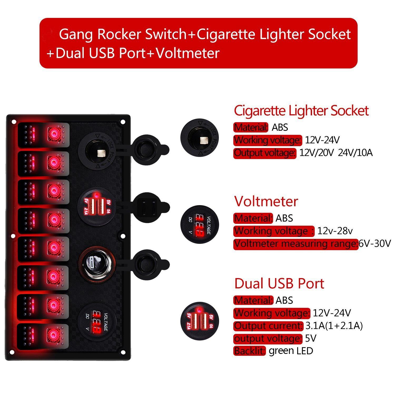 12V Marine Boat Voltmeter LED Dual Battery Test Panel Rocker Switch ON-OFF-ON AP