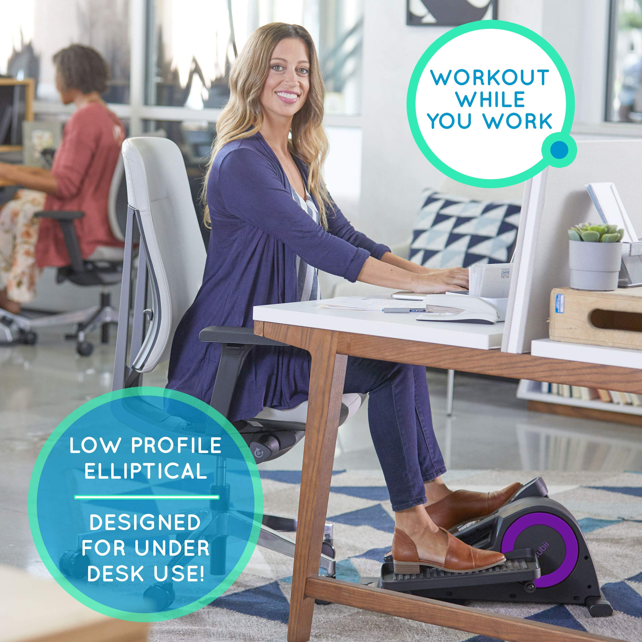 Cubii Jr: Desk Elliptical w/Built in Display Monitor, Easy Assembly, Quiet & Compact, Adjustable Resistance (Purple, One) by Cubii (Image #5)