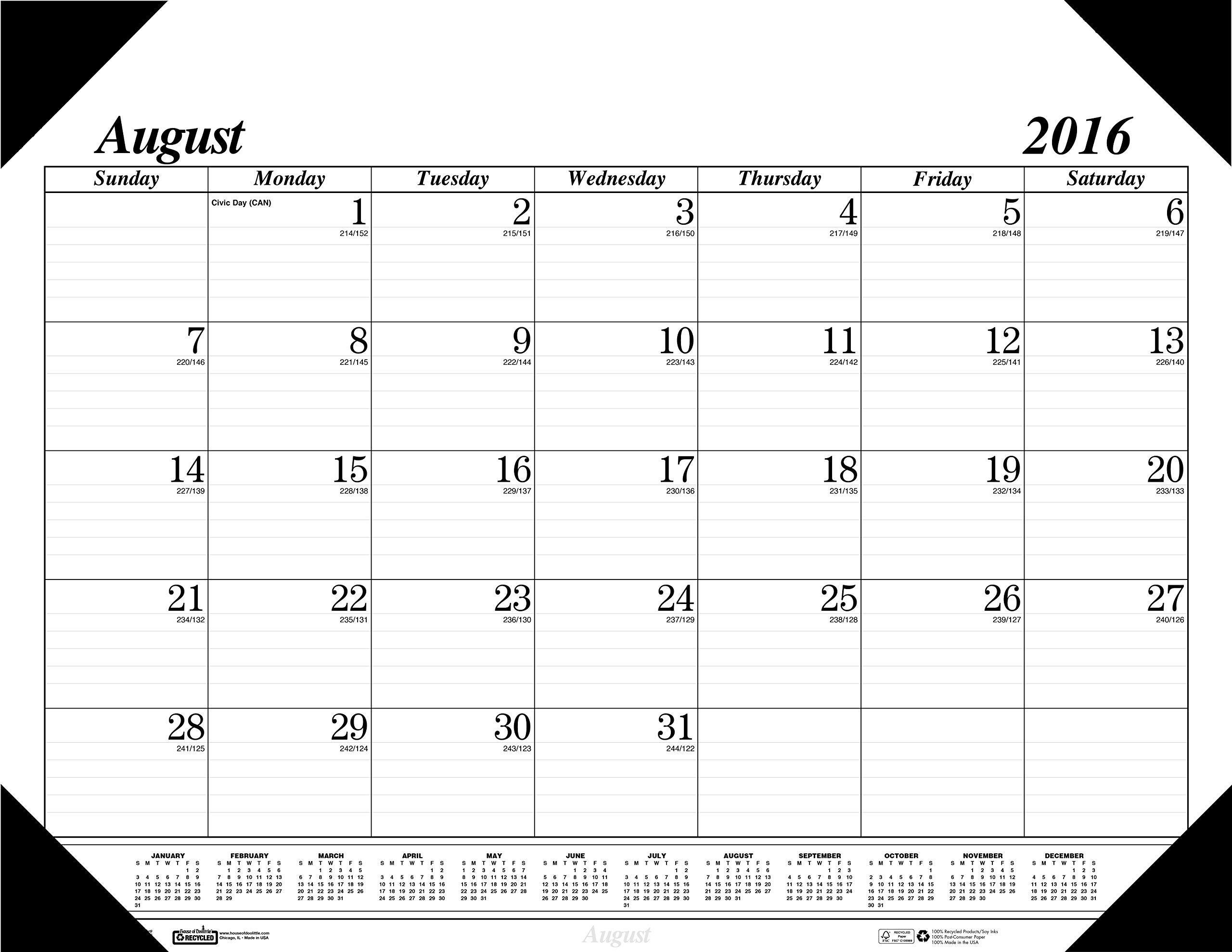 House of Doolittle 2016-2017 Monthly Desk Pad Calendar, Academic, 17 Month, 22 x 17 (HOD12802-17)