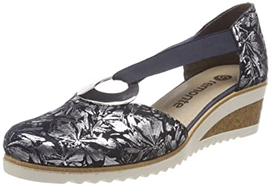 976f4208 Remonte Women's D5502 T-Bar Heels, Blue (Pazifik-Metallic/Pacific 14