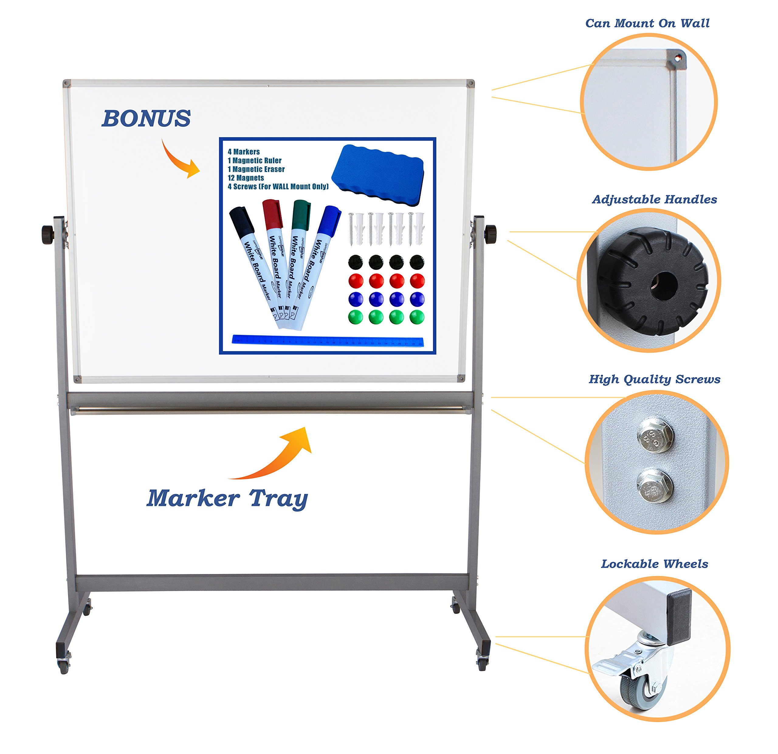 "Magnetic Mobile Whiteboard Large On Stand Double Sided Flip Over Dry Erase Reversible Portable Home Office Classroom Board 36 x 48"" Inch with 4 Markers 12 Magnets Eraser and Ruler Easel Aluminum Frame by Dapper Display (Image #1)"
