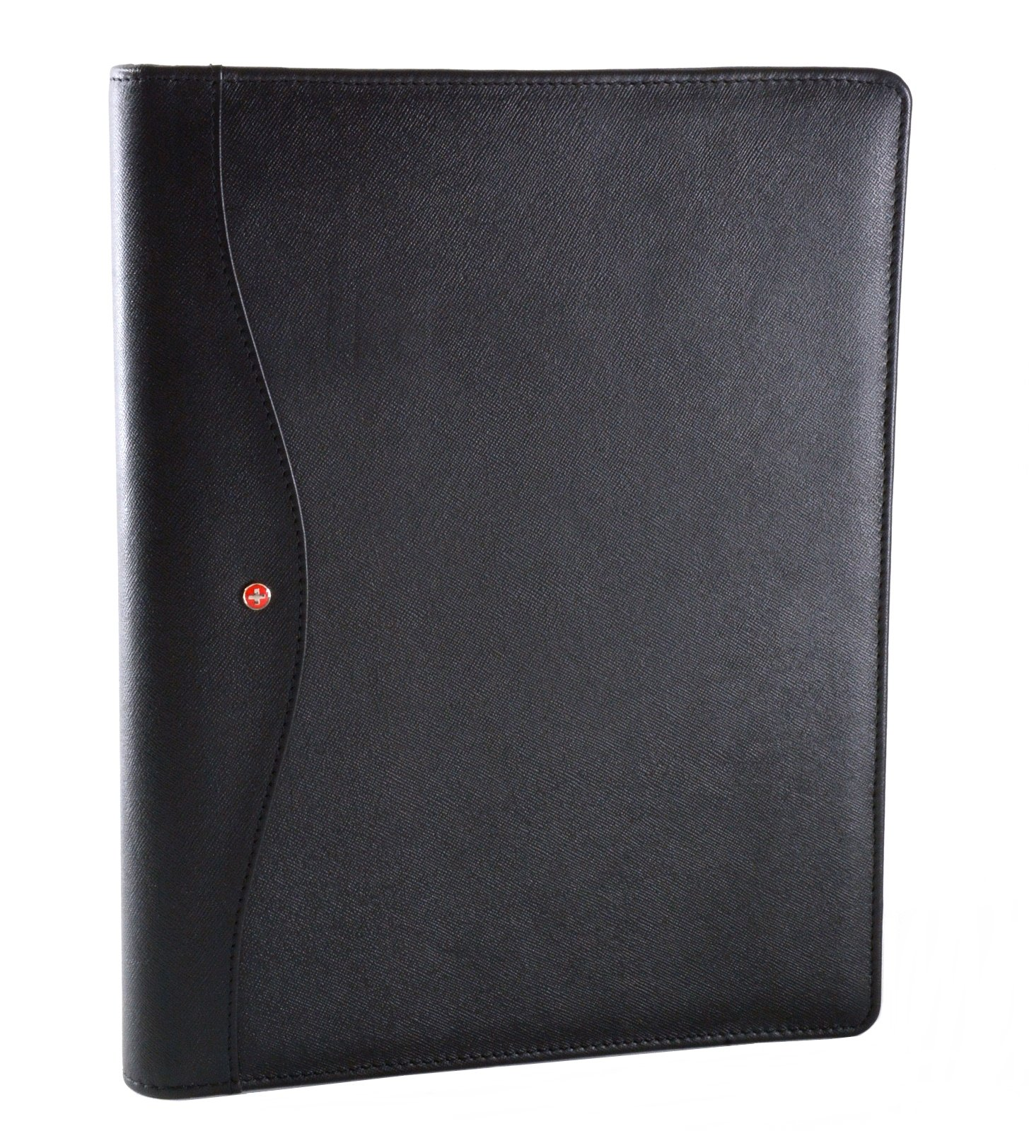 Alpine Swiss Genuine Leather Writing Pad Portfolio Business Case for Left & Right Handed Use with Tablet Sleeve Crosshatch Black