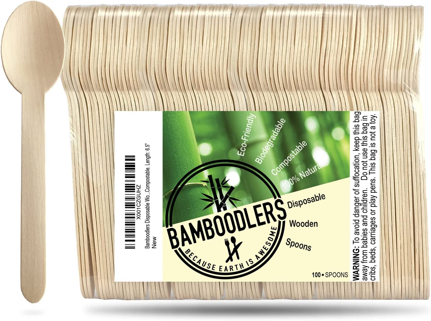 BAMBOODLERS Cucharas De Madera Desechables | 100% Natural ...