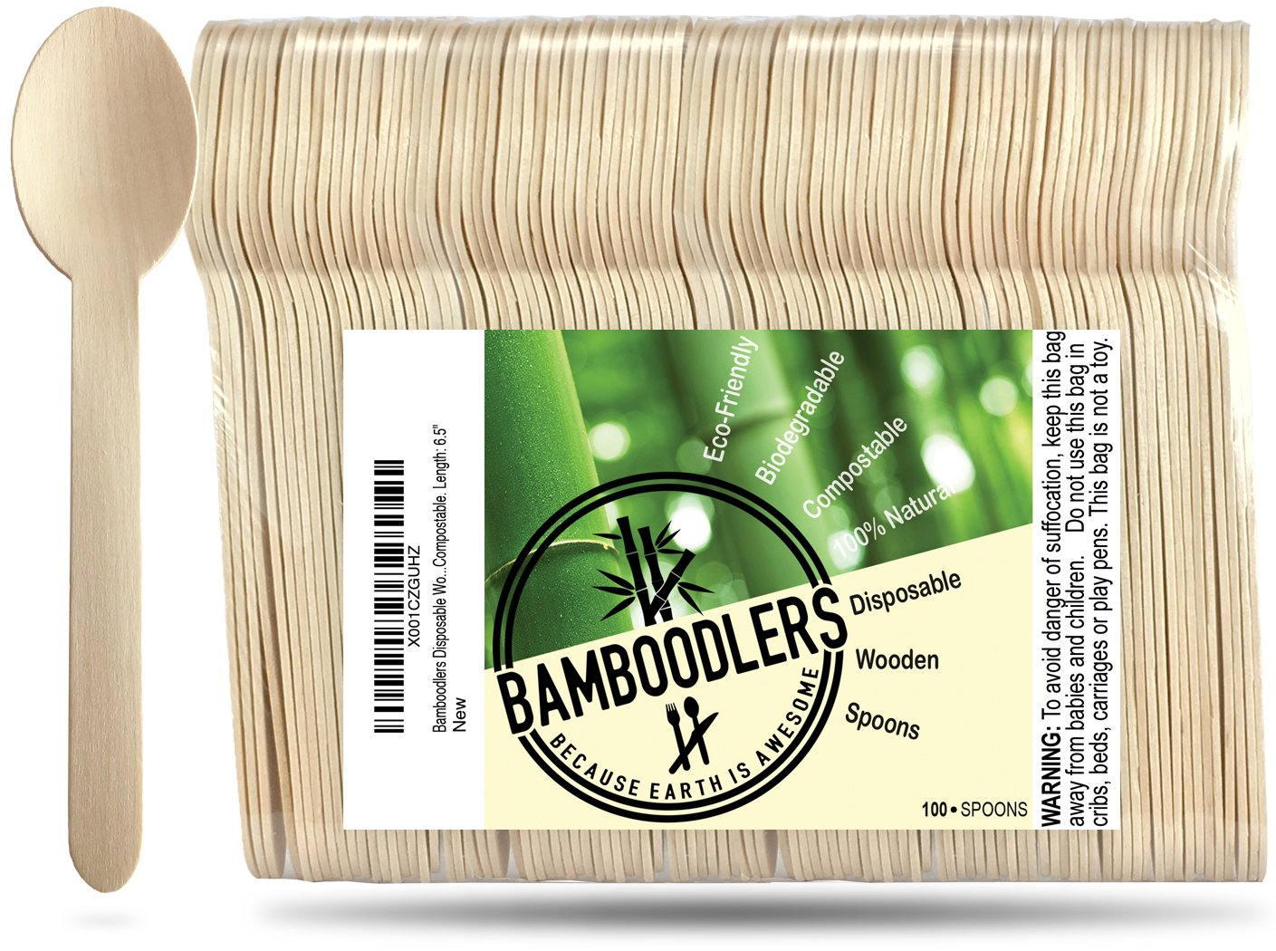 Disposable Wooden Spoons by Bamboodlers | 100% All-Natural, Eco-Friendly, Biodegradable, and Compostable - Because Earth is Awesome! Pack of 100-6.5'' Spoons. by BAMBOODLERS