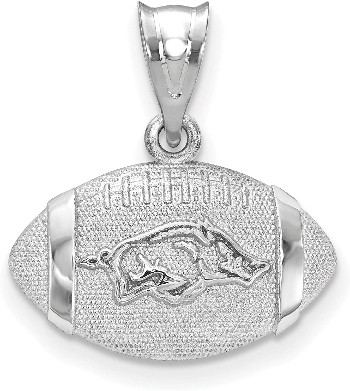University of Arkansas Razorbacks School Mascot on Football Shaped Pendant in Sterling Silver 13x17mm