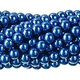RUBYCA 200Pcs Czech Tiny Satin Luster Glass Pearl Round Beads Beading Jewelry Making 8mm Royal Blue