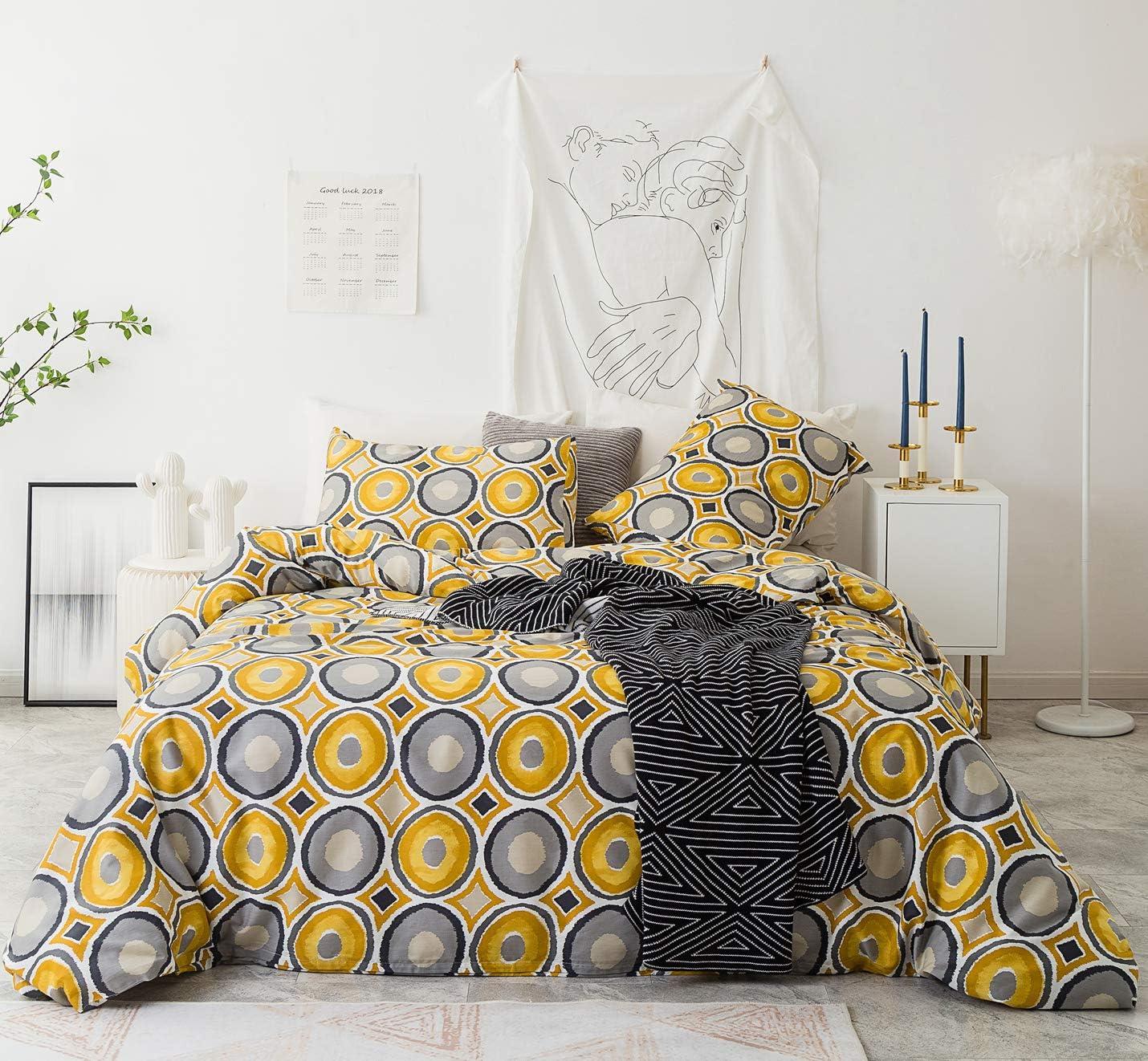 YuHeGuoJi 3 Pieces Duvet Cover Set 100% Cotton King Size Yellow Grey Gray Polka Dot Bedding Set