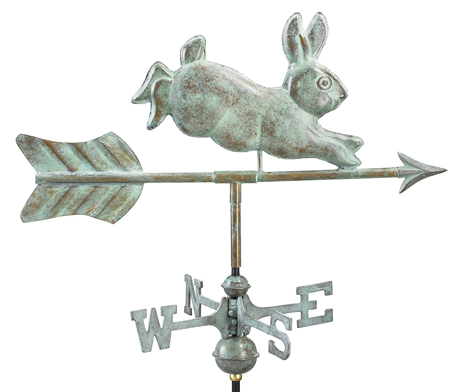 Good Directions Rabbit Garden Weathervane with Garden Pole, Blue Verde Copper 809V1G