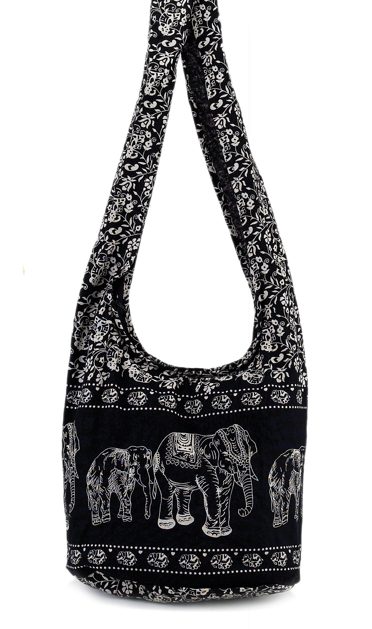 World End Imports Black Elephant Hobo Bag