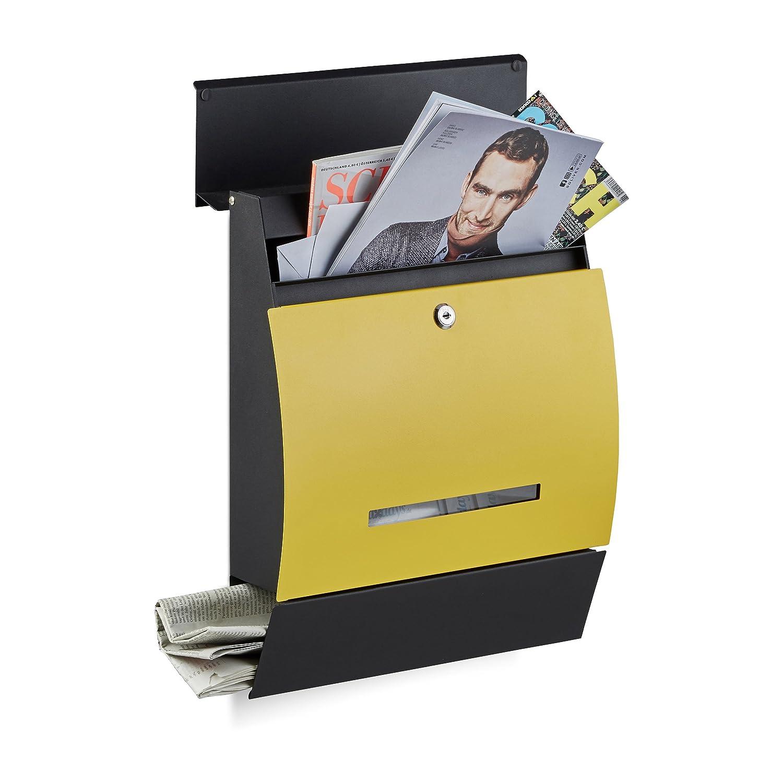 schwarz-rot Pulverbeschichtet HxBxT: 45 x 35 x 11 cm Relaxdays Design Briefkasten mit Zeitungsfach Wandbriefkasten