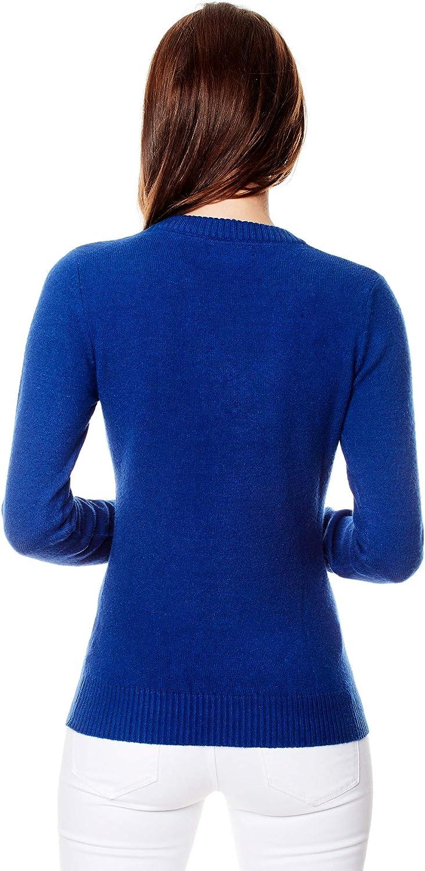 Manica-Lunga Autunno Caldo Mezza Stagione Vincenzo Boretti Maglione-Pullover Elegante Donna Disegno Classico con Scollo-a V a Costine Ideal per Inverno