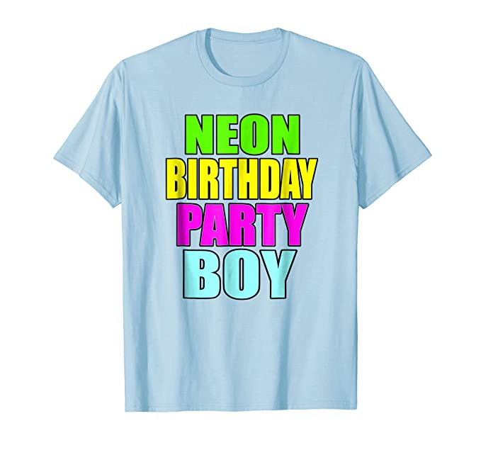 Mens Neon Birthday Party Boy Matching Family Shirt 2XL Baby Blue
