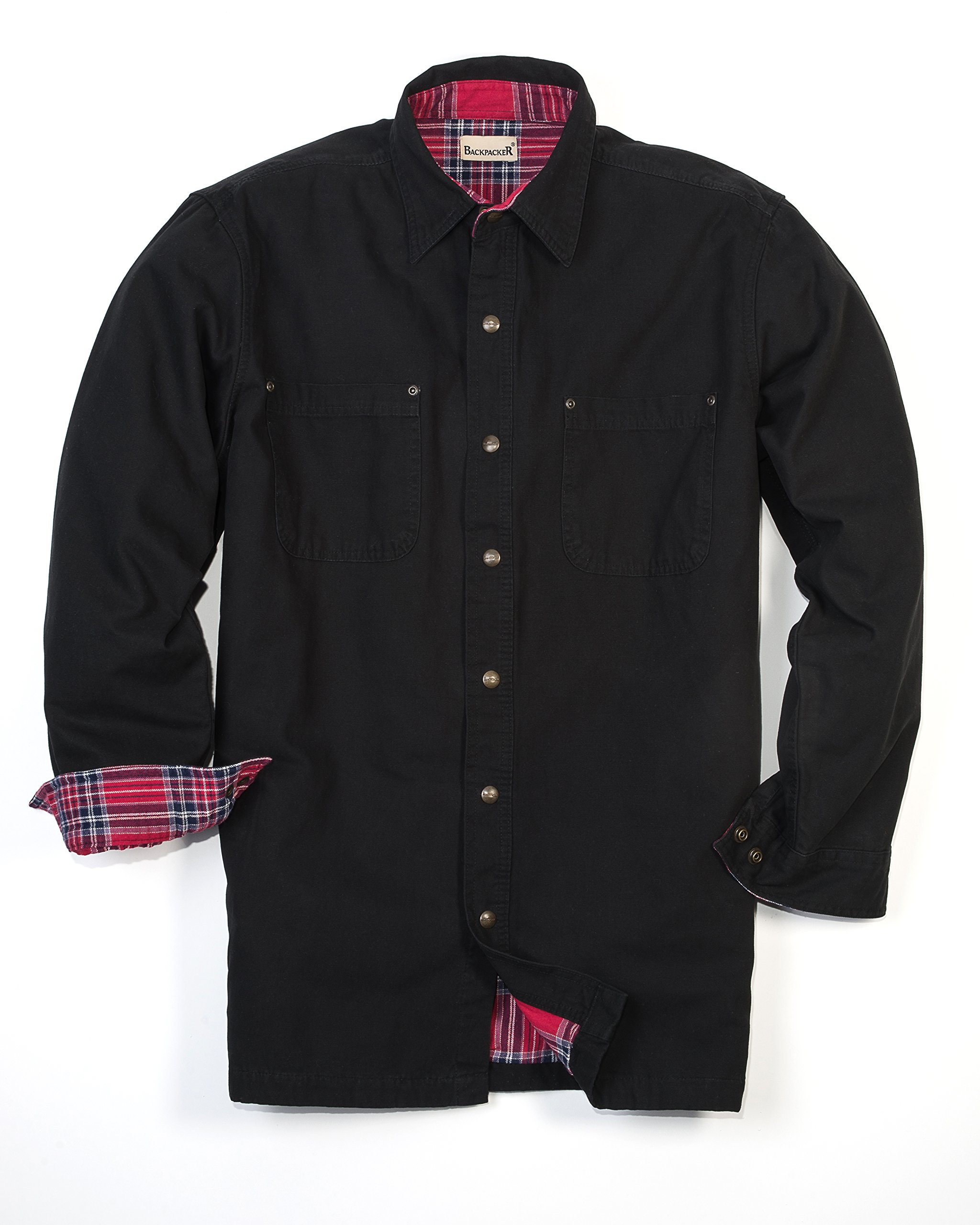 Backpacker Canvas/Flannel Lined Shirt Jacket, Black, Medium by Backpacker