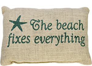 The Beach Fixes Everything - Burlap Accent Pillow with Star Fish - Aqua Print on Light Burlap - 12-in x 8-in
