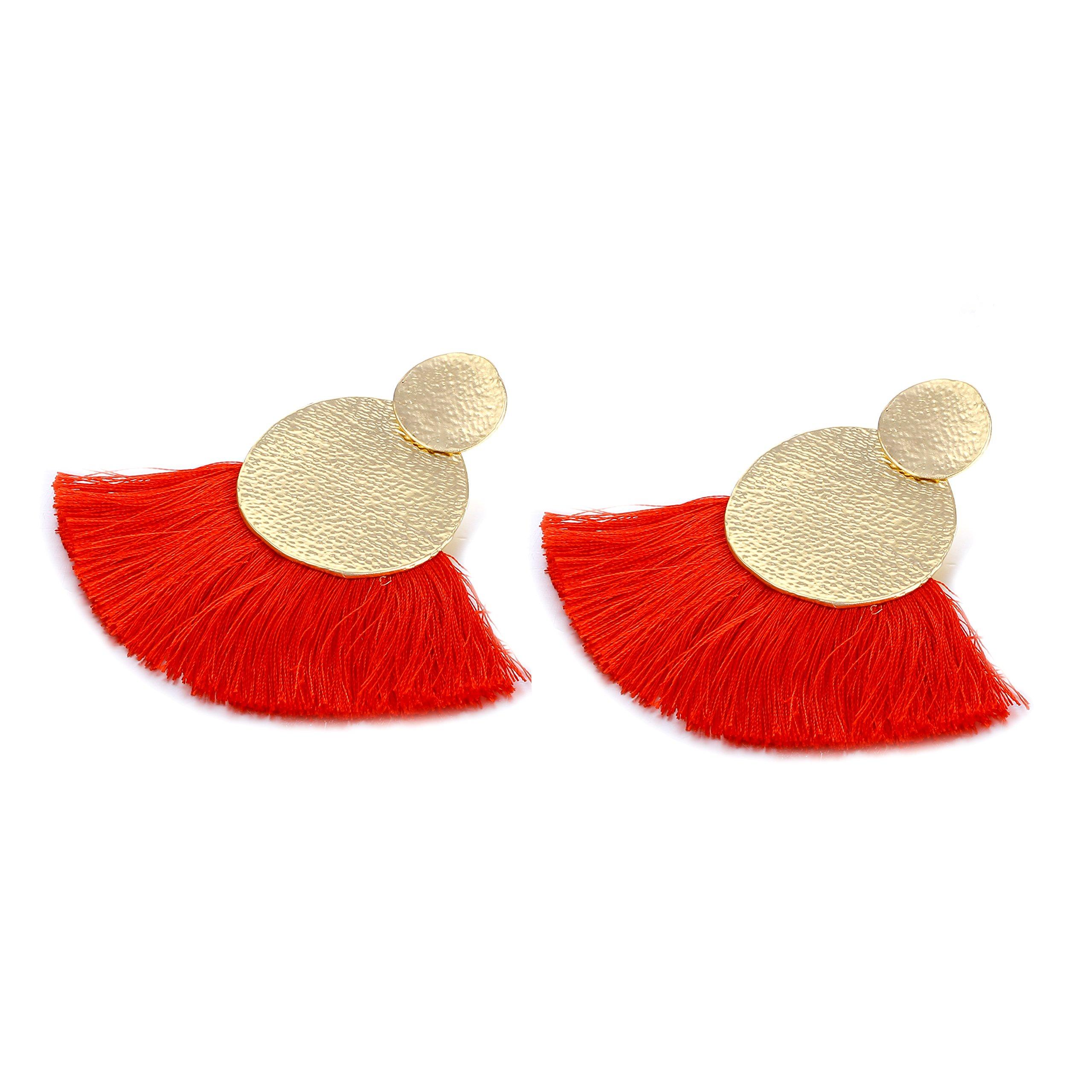 Fashion Tassel Earrings for Women Hot Sale Bohemia National Style Jewelry Female Summer Style Drop Earrings(Red) by du fangbin