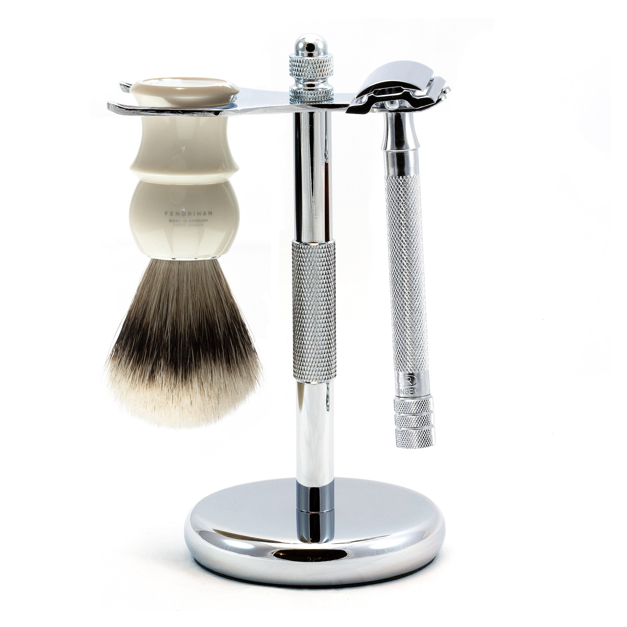 3-piece Shaving Set with Merkur 23c Long-handle Razor and Super Badger Brush, Made in Germany (Ivory)