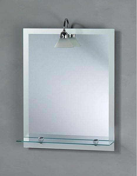 Specchio Bagno Con Faretti.Made In Italy Specchio Con Mensola E Faretto 50x65 Amazon It Casa
