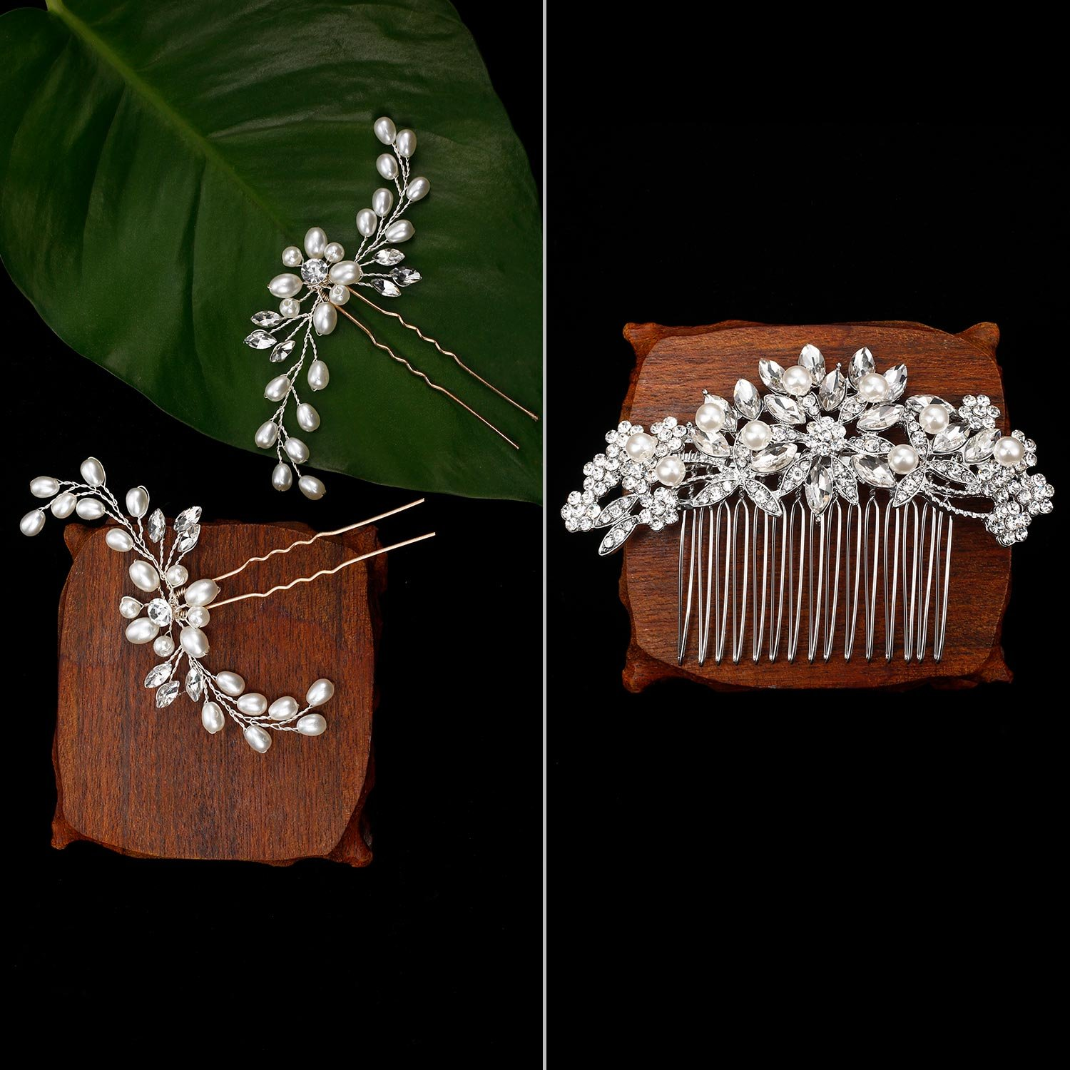 Gejoy 3 Pieces Elegant Wedding Crystal Hair Accessories, Leaves Flowers Hair Comb and 2 Pieces Rhinestone Bridal Hair Pins for Women, Bride or Bridesmaid by Gejoy (Image #2)