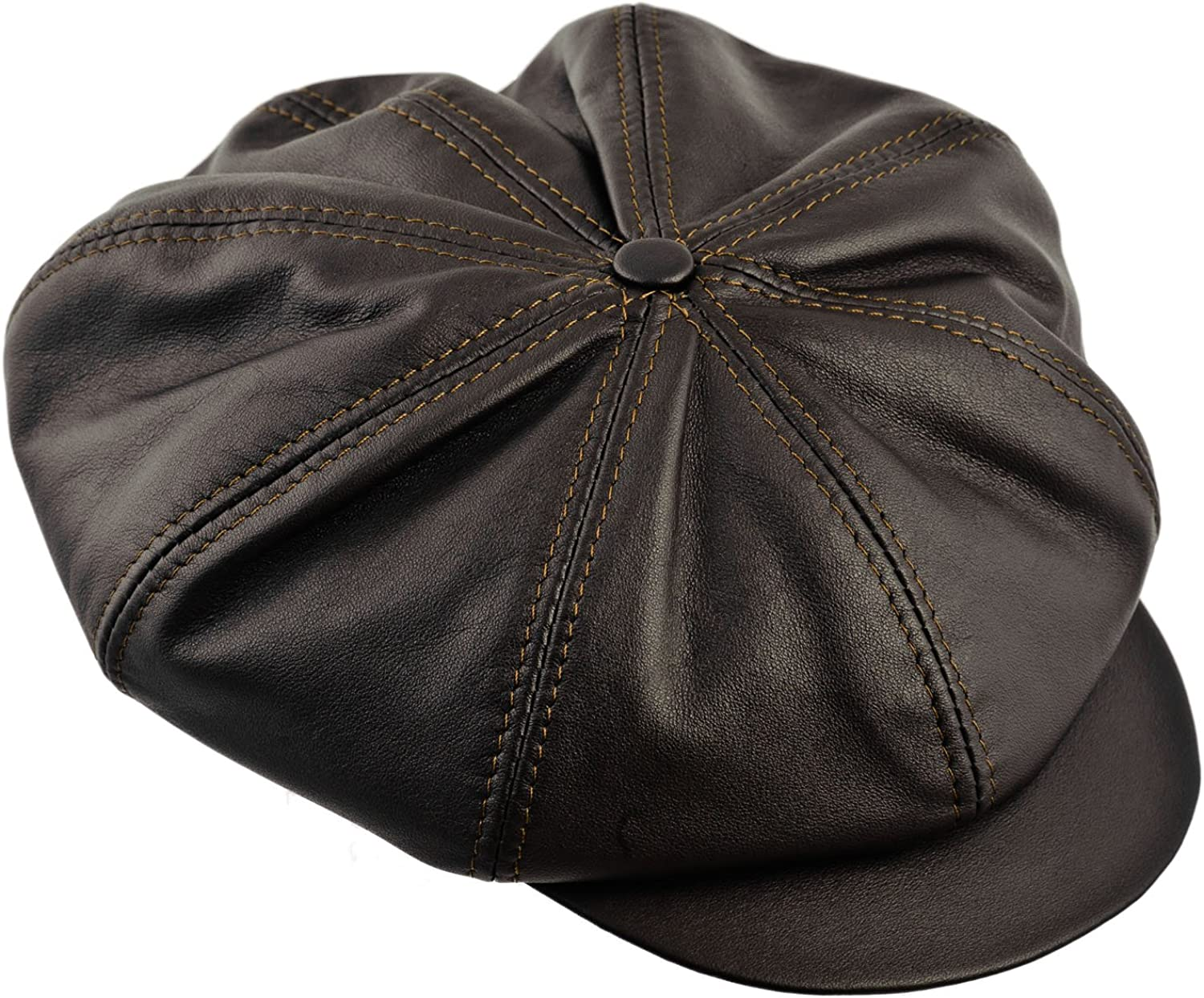 Sterkowski Cattle Leather Large Crown 8 Panel Newsboy Cap