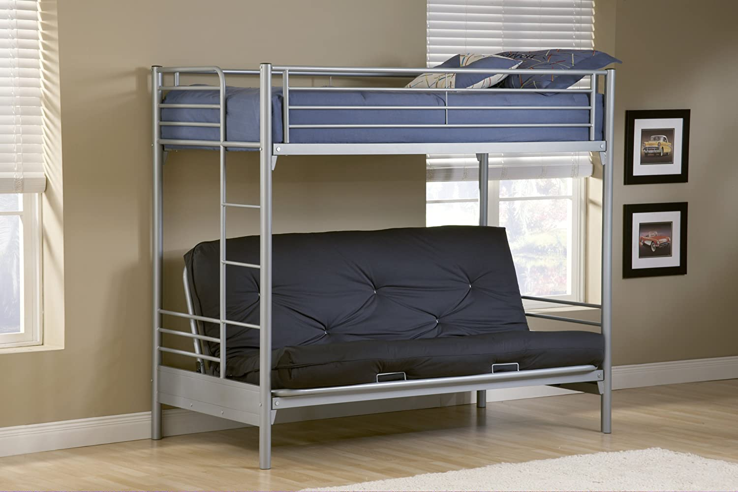 Amazon com hillsdale universal youth twin over futon bunk bed in silver finish kitchen dining