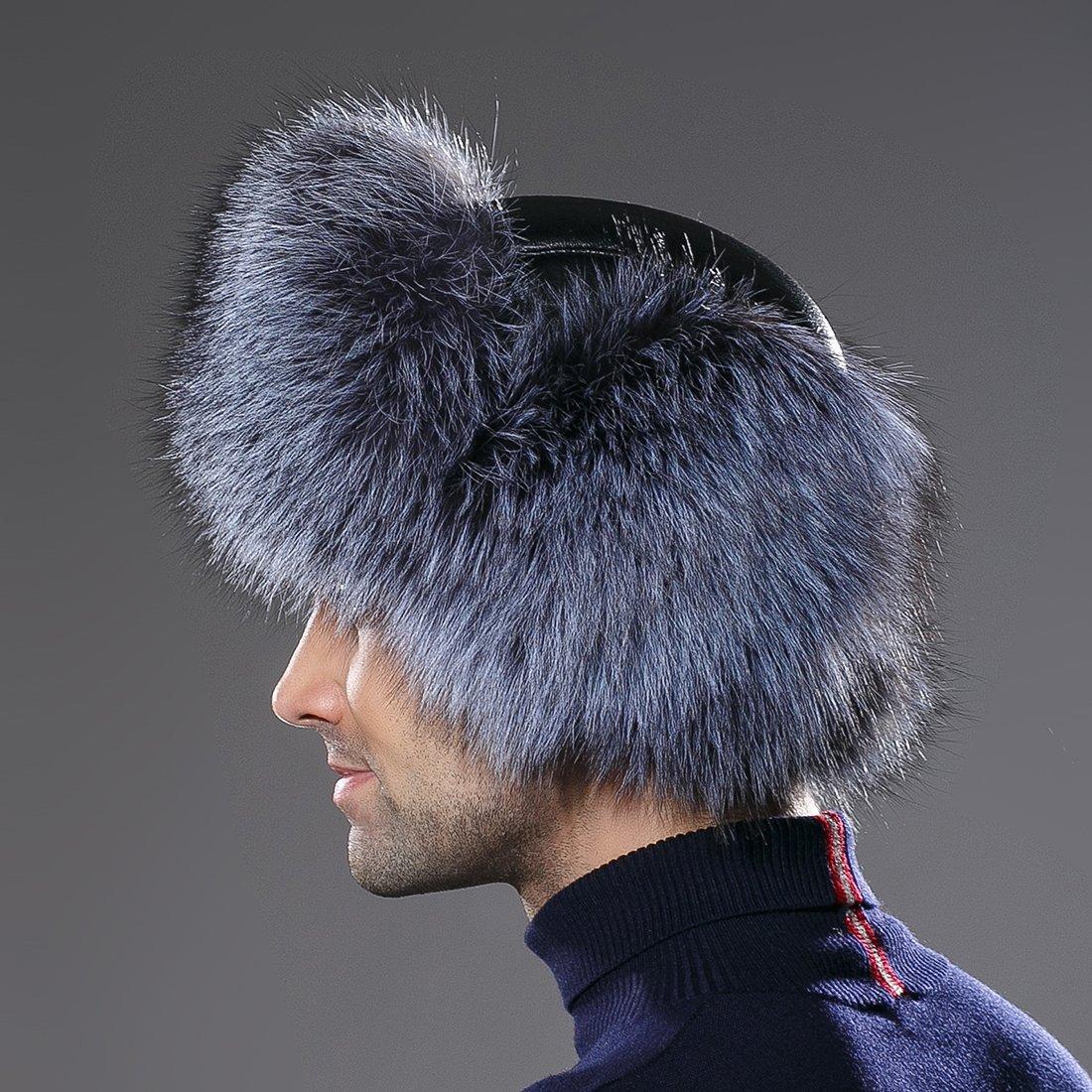 URSFUR Winter Mens Trapper Hat Real Leather Silver Fox Fur Russian Ushanka Cap by URSFUR (Image #5)