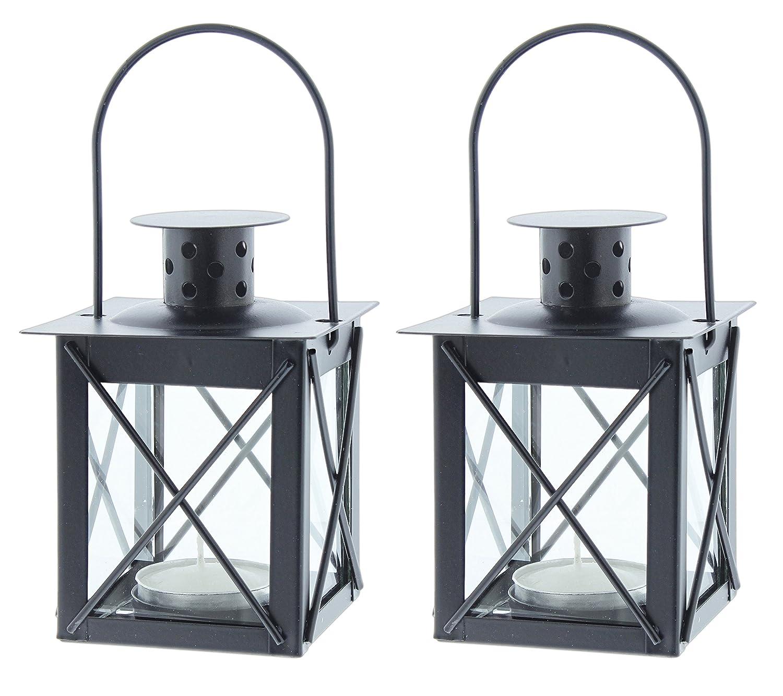 Black Metal and Glass Tea Light Candle Holder Lanterns Set of 2 - ChristmasTablescapeDecor.com