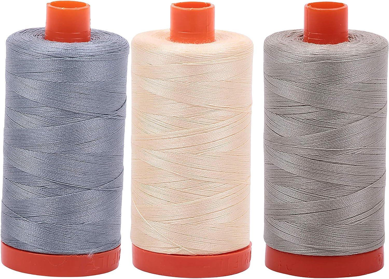Light Grey Aurifil Mako 100/% Cotton 50wt Thread 3 Large 1422yd Spools Butter 2610+2123+5021 Light Blue Grey